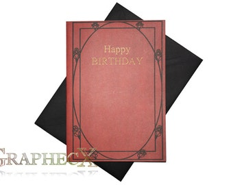 Fan-made The Labyrinth Red Book inspired personalized birthday card
