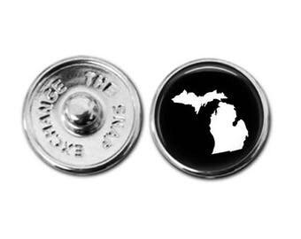 Michigan charm, Michigan map charm, snap button jewelry, button snap jewelry, button jewelry, snap charm jewelry, snap jewelry
