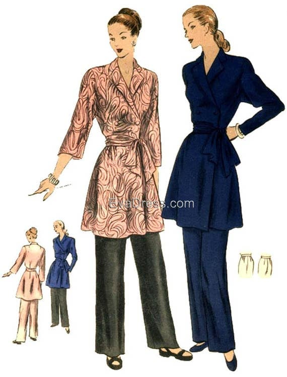 1940s Sewing Patterns – Dresses, Overalls, Lingerie etc 1949 Lounging Ensemble New by EvaDress Patterns!  AT vintagedancer.com