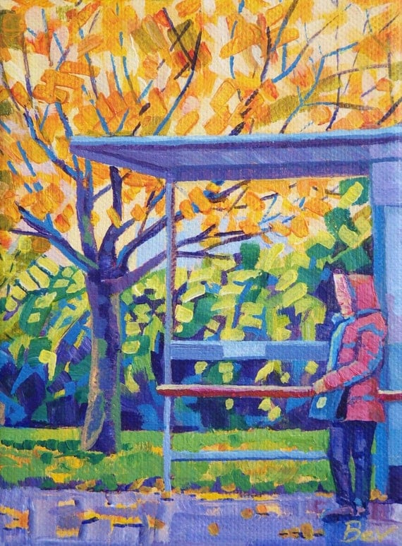 Autumn Bus Stop, Original Painting in Acrylic