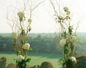 Curly Willow Wedding Arch with vases