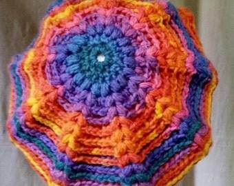 Handmade Womens  Crocheted Slouchy Rainbow Beanie/Hat/Beret/Tam