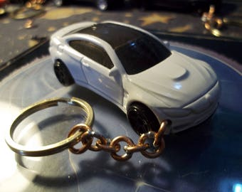 custom made keychain,2015 bmw m4 coupe,gloss white w/black mags/hand made jump rings-repaint/mint