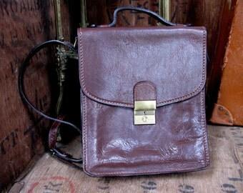 Brown Leather Bag, Vintage Satchel, Italian Leather, Leather Messenger, Cross Body Bag, Leather Satchel, School Satchel, Leather Bag, Purse