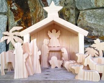 wooden nativity scene christmas decor wooden nativity set christmas nativity nativity decoration - Wooden Nativity Set