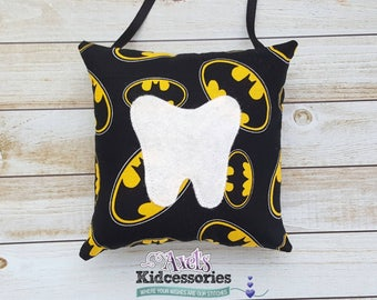 Batman Tooth Fairy Pillow - Superhero Tooth Fairy Pillow - Tooth Fairy Pocket  - Tooth Fairy Pouch