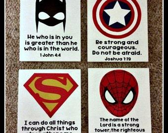 Superhero + Bible Verse Wood Signs - Boy Room