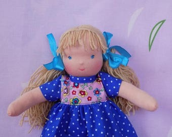 "10"" soft natural textile doll, little blonde blueyed doll, small cloth doll, 10"" waldorf doll, small waldorf doll, rag doll, fabric doll"