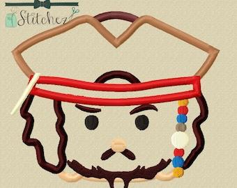 Captain Jack Sparrow Tsum Tsum Applique Design ~ Instant Download