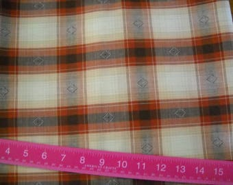 Destash-  2 Pieces of Brown Plaid Vintage Fabric For Sewing or Crafting