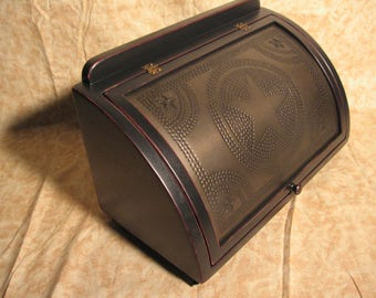 Antique breadbox edge distressed black over red Kettle black star punched tin - FREE SHIPPING