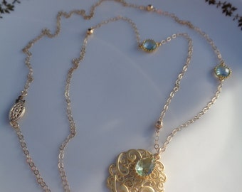 Long gold chain, 585 gold filled with double trailer, filigree and Crystal
