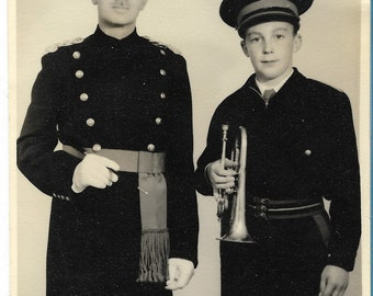 Vintage 1940s Black and White Photograph - Father and Son Brass Band Pose