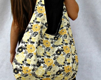 Hobo Bag Purse, Yellow, Black Floral  Fabric Tote Bag,  Over The Shoulder Bag, Beach Bag.