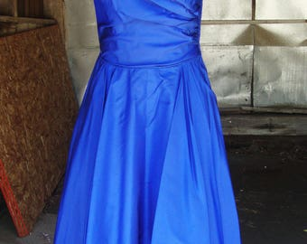 Vintage 1950's Cobalt Blue Silk Full Skirt Dress * Size X-Small