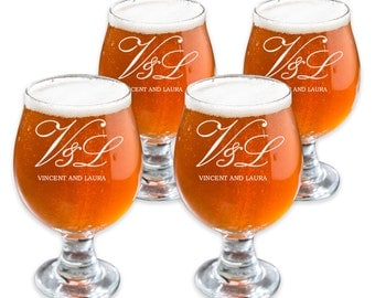 Personalized Belgian Beer Glass - Custom Beer Glass - Engraved Initials Pint Glass - Beer Lovers Glass - Herman Design GW146 - Set of 4