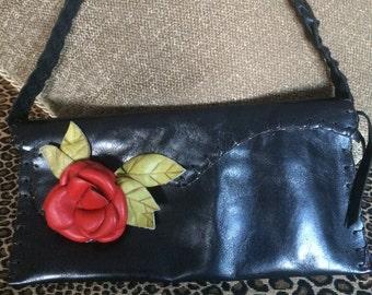 Vintage Italian Top Handle Black Handbag/Purse with Red Leather Flower