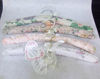 VINTAGE - Set of 4:  Padded Floral Satin/Cotton Hangers, 1 each Design, Plus BONUS Sachet