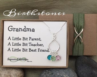Gifts for Grandma Necklace - 50th 60th Birthday Gift for Mom Gift - Sterling Silver Eternity Birthstone Necklace for Grandma from Grand Kids