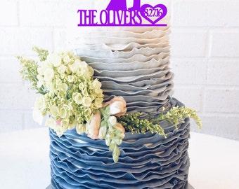 Groom & Bride Dancing Wedding Cake Topper with surname and Date BIG custom cake topper custom wedding cake topper family silhouette cake top