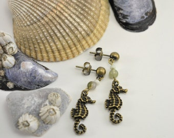Antiqued Brass Dangle Seahorse Earrings with Stone Beads