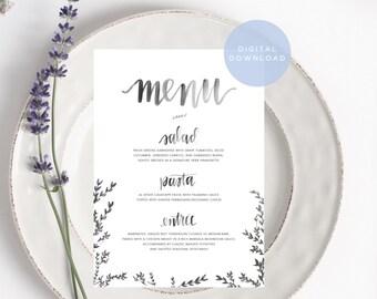 custom handwritten menu watercolor printable // custom brush calligraphy menu download // digital design for elegant wedding dinner decor