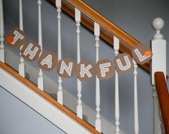 Thankful banner, Thanksgiving, pumpkins