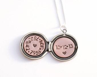 Wedding date necklace - Secret message locket - Personalized locket necklace – GPS coordinates – Latitude longitude – Gift for bride