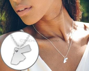 Jordan Necklace - Jordan charm necklace, Jordan map necklace, I heart Jordan necklace