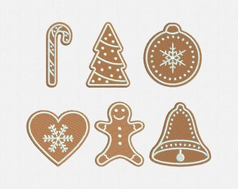 Gingerbread Christmas Cookies Machine Embroidery Design - 6 Designs by 1 Size