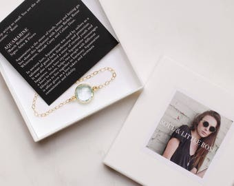 March Birthstone Jewelry - Aquamarine - Delicate gold bracelet, Adjustable gold bracelet, Aquamarine bracelet, Birthstone bracelet for her