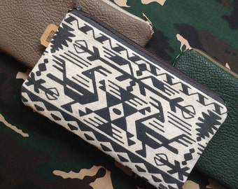Tribal Zip Pouch,Bulgarian Print Purse,Aztec Print Case,Birds Pouch,Navajo,Southwest Pouch,Valentines Day Gift,Mothers Day Gifts,Gadget Bag