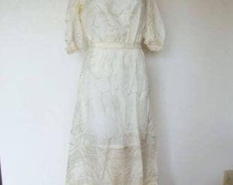 Sheer White Silk Edwardian Petticoat, Slip, Chemise, Dress 1910's Vintage