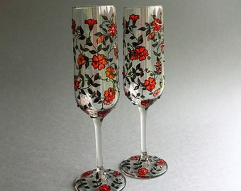 Black and red glasses, Gothic wedding glasses, Wedding flutes, Champagne glasses, Gothic wedding gift, wine glasses