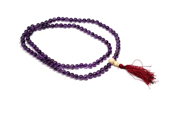 Mala Meditation Beads Amethyst  gemstone 108 Mala beads  Yoga Jewellery Prayer Beads M7 Buddhist Free UK Delivery + Gift Bag M19