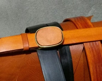 """100% Cowhide Leather Belt, """"Inset"""" Solid Brass Buckle, Sized to fit"""