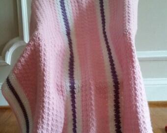 Pink, White and Lt. Purple Stripe Baby Blanket/Afghan, Crib Blanket/Afghan, Toddler Blanket/Afghan, Baby Shower Gift, Gift under 50