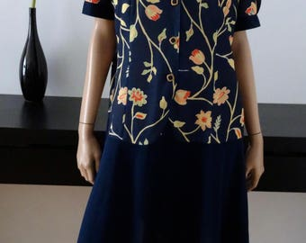 Robe vintage bleue/fleurie PARIS made in France taille 44 / uk 16 / us 12