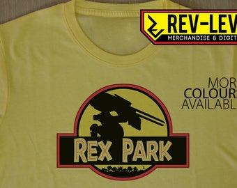 Metal Gear Solid Jurassic Park Style Rex Park T-Shirt - Metal Gear Rex Jurassic World Inspired by Kojima's MGS by Rev-Level