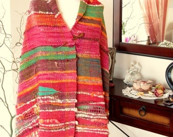 Unique handwoven shawl wrap stole Saori Woven wool outlander  Large wool wrap shawl Poncho Woven art yarn  Handspun handwoven organic wool
