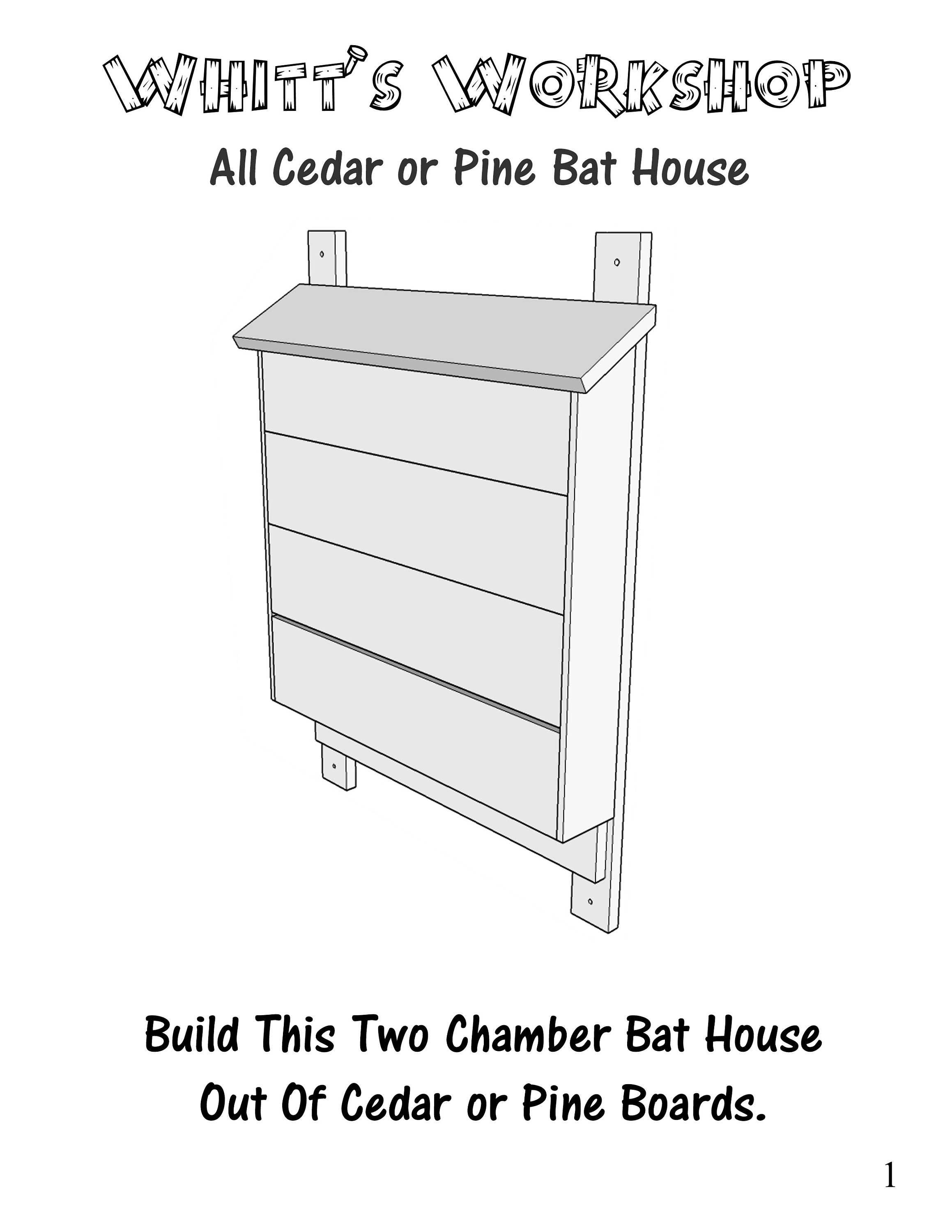 Cedar or Pine Bat House PFD File Wood Plans Blueprints