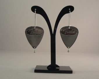 Fender Guitar Pick Earrings, Silver with Sterling Silver Drop