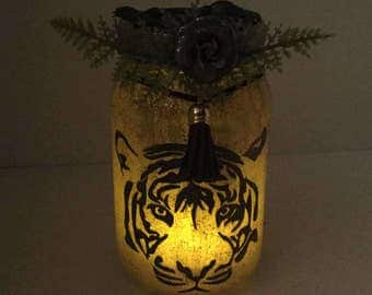 Tiger Mason Jar Lantern - Tiger Luminaire - Tiger Flameless Votive Holder - Tiger Mason Jar Nightlight