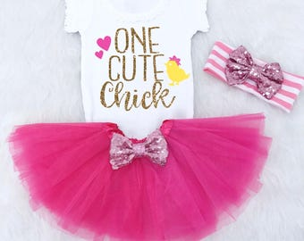 One Cute Chick Easter Outfit Baby Girl. First Easter Outfit. Babys First Easter Outfit. Baby Girl Easter Clothes. Easter Chick Outfit.