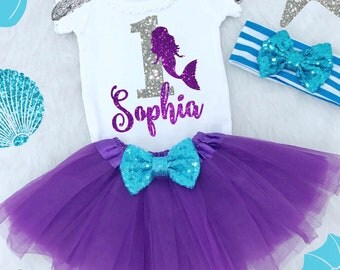 First Birthday Mermaid Outfit. First Birthday Baby Girl. First Birthday Mermaid Tutu Outfit. Mermaid Party Outfit. Baby Girl Birthday Dress