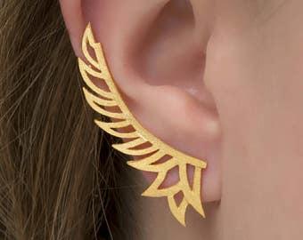 Feather Wings Ear Cuff Earring,925 Sterling silver ear cuff earrings,Statement earrings cuff, Ear climber,Textured earrings