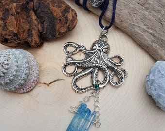 Silver Octopus Rearview Mirror Accessory - Car Jewelry - Car Accessory - Coastal Gifts - Beach Accessory - Blue Crystals - Unique Gifts