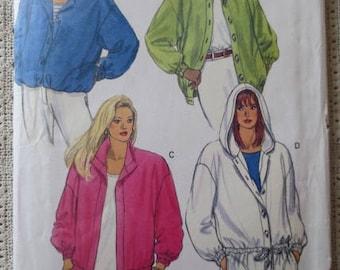 Retro 1990s Jacket Sewing Pattern - Butterick 5461 - Sizes 8-10-12 - Womans Retro Hoodie Pattern