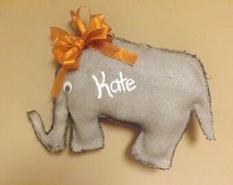 personalized burlap wall decor, Elephant,  Burlap Elephant,  Burlap Door Hanger,  Wall Decor, Home Decor, Child's Room, infant nursery
