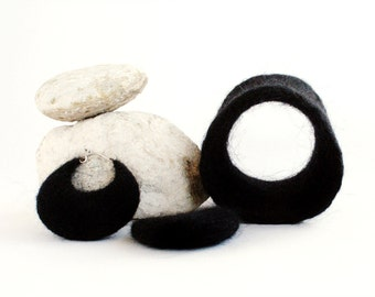 Felted black set of bracelet and earrings
